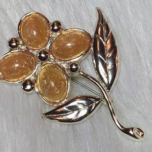 Vintage Silver & Light Peach Flower Pin Heavy